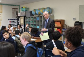 Justice Gould speaks with Trailside students